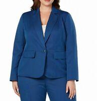 Le Suit Women's Jacket Blue Size 18W Plus Notch Collar 1 Button Blazer $100 #179