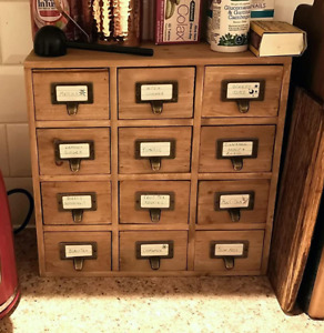 Rustic Chest Drawers Wooden Office Desk Small Trinket Box Kitchen Tea Storage