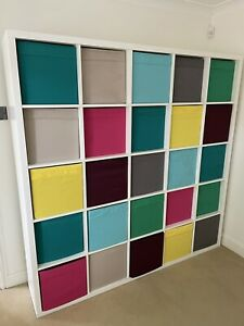 Large Ikea Kallax 25 Shelves & Coloured Boxes Playroom / Storage / Room Divider