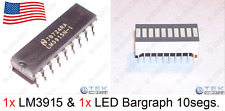 x1 LM3915 Display Driver & 10-Seg LED Bargraph (Bar Graph for Audio VU Meter)