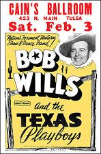 Bob Wills Texas Playboys 1962 Cain's Ballroon Tulsa Concert Poster