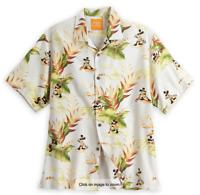 New Disney Parks Tommy Bahama Mickey Mouse Aloha Tan Hawaiian Shirt - Large