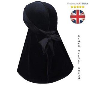 Luxury Velvet Durag Bandana Sports Du-Rag Scarf Headwrap BLACK