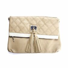 Ladies Caramel Quilted Clutch bag with Tassels Detail