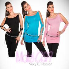 Maglia Donna Top Sexy Strass maglietta camicetta t-shirt Moda estate MaliziOSA