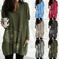Women Plus Size Print Long Sleeve Pullover T-shirt Loose Baggy Tunic Top Jumper