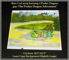 VERY RARE 4 Cel Setup Pocket Dragons featuring FOUR of the Dragons