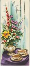 VINTAGE TEA POT CUP SAUCER GARDEN FLOWERS FOXGLOVE STOKES ASTER LILY CARD PRINT