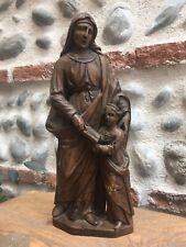 RARE belle Sculpture Sainte Anne faisant l'éducation de la Vierge XIX