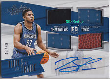 2015-16 ABSOLUTE TOOLS QUAD SWATCH AUTO: KARL-ANTHONY TOWNS #43/99 RC AUTOGRAPH