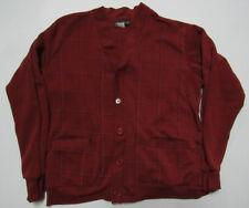 Haband Medium Shirt Fleece Cardigan Style Button-up Outer Layer Burgundy Stripe