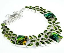 925 Sterling Silver Overlay Green Dichoric Opal Peridot Crystal Quartz Necklace