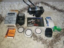 KONICA FT-1 Motor  35mm SLR Film Camera plus extras