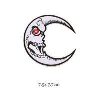 Evil Skull Moon - Biker Iron on Embroidery Cloth Patch Sew on Badge - Jacket
