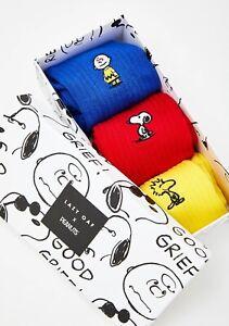 NIB Lazy Oaf x Peanuts 3-Pair Women's Crew Socks in Box - One Size Fits Most
