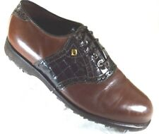FOOTJOY Classics Men Spikeless Golf Shoes Size 7.5 D Brown Leather Saddle