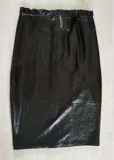 PRETTY LITTLE THING size 14 black WET LOOK LEATHER pu party PVC PENCIL SKIRT