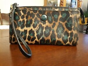 Coach Ocelot Green Leopard Clutch with Black Leather Strap