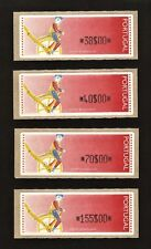 1992 - 4 ATM Label Stamps - Complete serie w/ optical dots - Ciclista - AFINSA 6