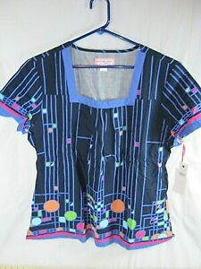 NWT Koi By Kathy Peterson Size Large Scrubs Top Color Splash Vanessa (AA9)