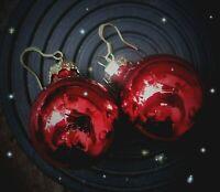 ★ christbaum kugel weihnachts ohrringe silber 925 haken glänzend rot 2 cm
