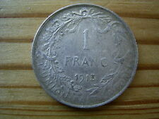 1913  belgium 1 franc coin collectable