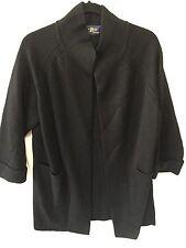 Vintage Mod 60s XL LeRoy Black Wool Knitwear Sweater Coat Cardigan Excellent