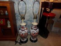 ORIENTAL VASES VNTG. TURNED INTO LAMPS BEAUTIFUL RARE UNIQUE SET OF 2