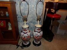 ORIENTAL VASES VNTG. TURNED INTO LAMPS BEAUTIFUL RARE UNIQUE SET OF 2