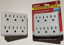 6-Outlet Wall Plug Adapter, Grounded, Indoor, Cordless Adapter