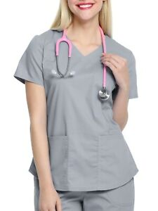 Scrubstar Women's Core Essentials V-Neck Scrub Top w Rounded Hem, Condor Grey, L