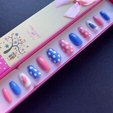 Hand Painted False Nails Coffin (or any shape) Baby Gender Reveal - Boy Girl UK