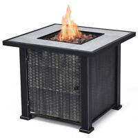 "30"" Square Propane Gas Fire Pit 50,000 BTUs Heater Outdoor Table Fireplace Cover"