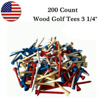 Wood Golf Tees 3 1/4 Inch 200 Count 83mm Long Mixed Color Free Shipping US
