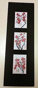 5.5x17 cherry blossom plum flowers Asian Art 1  - Chinese Brush Painting
