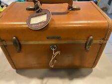 Vtg Samsonite Shwayder Tan Makeup Vanity Streamline MINI Luggage Case With KEY