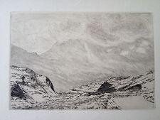 J F SCHNERB gravure eau forte etching montagne Alpes Suisse le col du Simplon