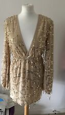 pretty little thing 8 Gold Plunge Sequin Long Sleeve Bodycon Dress New With Tag