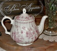 Queen's Chelsea Toile Pink Teapot Fine Earthenware Colombia English Style Easter