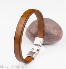 SIMPLY MEN'S SINGLE BAND SURFER GENUINE LEATHER WRAP BRACELET WRISTBAND KHAKI