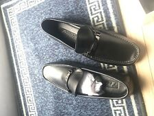Versace Black Leather Loafers Driving Shoes uk 10 Trainers Sneakers Suit Jacket