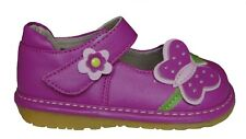 Pink Squeaky Shoes Toddler Girls Leather First Walker Shoes Butterfly Size 3 NEW