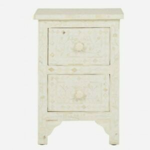 MADE TO ORDER Bone Inlay Indian Handicraft Bedside Cabinet Table White Floral
