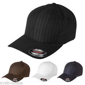 NEW FLEXFIT PINSTRIPE FITTED BASEBALL CAP PLAIN BLACK WHITE FLEXIFIT PEAK HAT