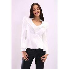Womens Jacket Puff Shoulder Celebrity Blazer Button Coat Peplum Frill Shift Top