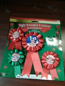 MISSING ONE UGLY SWEATER CONTEST AWARD RIBBONS Buttons 4 Pc Set S.B#1 #6