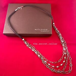 """SILPADA N2302 Everlasting Suede Cord Cubic Zirconia Drop Chain 28"""" Necklace NEW"""