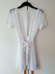 OBSESSIVE * sexy Spitzen Morgenmantel Kimono Negligee Gr.S M 36 38 Weiß ** TOP