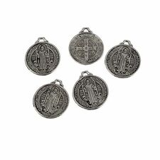Catholic Holy Medal Beads Tibetan Silver Charms Pendant DIY Bracelet 20mm 5pcs
