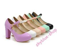Womens High Heels Ankle Strap High Heels Pump Solid Mary Jane Dress Shoes Size